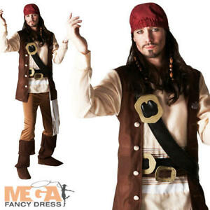 Captain Jack Sparrow Mens Fancy Dress Pirates of the Caribbean Adults Costume