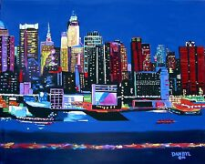 New York City Lights Original Art PAINTING DAN BYL Contemporary Modern 5x4 ft
