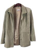 Vintage Orvis Women's Leather Coat  Jacket Tie Waist Suede Tan - Size Large