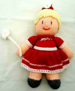 Handmade Knit Crochet Amigurumi Red Fairy With Wand Soft Plush Stuffed Doll Toy