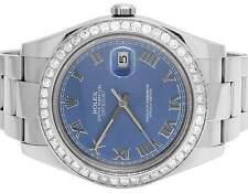 Mens 41 MM 116300 Rolex Datejust II S.Steel Blue Roman Dial Diamond Watch 3.8 Ct