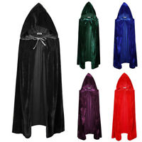Adult Gothic Hooded Velvet Cloak Robe Medieval Witchcraft Cape Halloween Costume