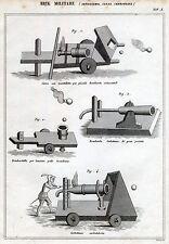 Arte Militare: Atiglieria,Cassa,Cerbottana.Incisione su Rame + Passepartout.1866
