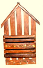 Morden Wall Hanging Key and Letter Wood Holder Hut Style Decor Gift Item
