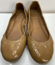 Tory Burch Eddie Royal Tan nude brown patent leather flats 5.5