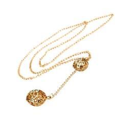 Kette S32 zwei Kugeln Gold Modeschmuck Bälle Halskette necklace Zirkonia DE
