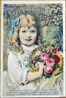 Victorian Trade Card: Girl w/Flowers, Perfume, Cologne - Floreston