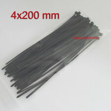 "100 PCS. 8"" Long BLACK Cable Zip Ties Ty Wraps 4x200mm free shipping"