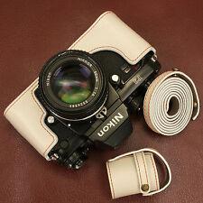 genuine leather half case with strap for Nikon F3 / Ivory / SLR Body Jacket