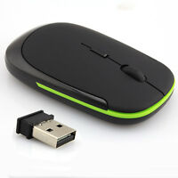 Ultra-Slim 2.4GHz Wireless Mouse Mini USB Optical 2.4G for Laptop PC Black PDQ