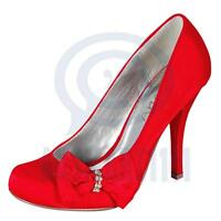 Sexy Womens High Heels Red Satin Diamante Pump Platform Bow Formal Party Shoes