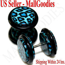 1251 Fake Cheater Illusion Faux Plugs Blue Leopard Cheetah Print Spots 00G 10mm
