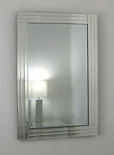 "Gracita Silver Glass Framed Rectangle Bevelled Wall Mirror 28"" x 20"" 70cm x 50cm"