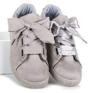 Womens Girls Suede Satin Bow Trainers Two Types Lace Up Sneakers Shoes Size