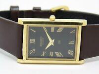 Seiko Quartz Black Dial Super Slim Gold Plated Analog Rectangle Mens Wrist Watch