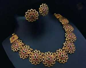 Traditional Gold Plated Party Wear Women Choker Red Necklace Bridal Jewelry Set