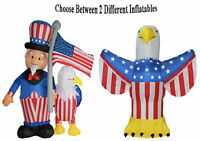 4th of July Inflatable Yard Decoration Uncle Sam Eagle American Flag Airblown