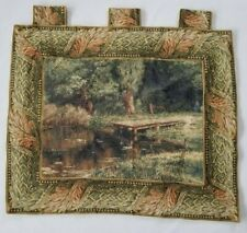 Vintage French Lake Scene Wall Hanging Tapestry (84X69cm)
