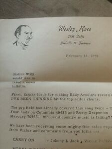 Wesley Rose Country Music Executive Signed Letter Eddy Arnold Content