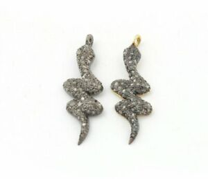 Pave Diamond Snake Charm 925 Silver Diamond Charms Findings Jewelry Making.