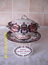 "Royal Crown Derby ""ROIS"" 383 Motif SOUPIERE & UNDERPLATE CIRCA 1891 - 1940"