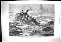 Old 1894 North Sea Herring Fishing Ship Capsized Rescue Boat PatrickVictorian