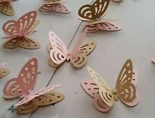24x Princess party table decorations , 3D butterflies , craft brown and pink