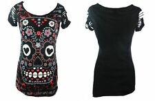 DBN563 BANNED APPAREL Black Slashed Sleeve Large Graphic Candy Skull Shirt/Dress