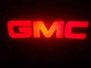 2PC RED GMC 5W LED EMBLEM DOOR PROJECTOR GHOST SHADOW PUDDLE LOGO LIGHT