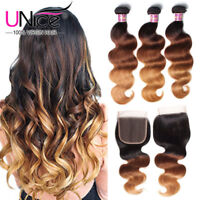 Indian Body Wave Human Hair Lace Closure With 3 Bundles 300g Remy Ombre Hair US