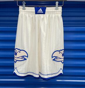 NEW adidas Kansas Jayhawks Sewn Basketball Fight Song Striped Shorts size S