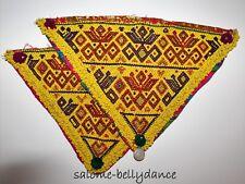Ein Paar Großer Gelber Kuchi Tribal Perlenaufnäher, 42 x 27 cm, Hippie Boho DIY
