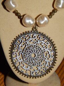 Hand-Patina'd antique Brass Pendant & Czech Glass Pearls Beaded Necklace