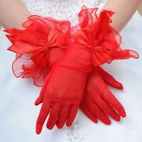 Womens Red Bow Gloves Driving Gloves Formal Evening Party Wedding Bridal Gloves