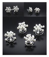 10 Curlies Haarspiralen Schneeflocken Perlen  Braut Hochzeit Weiß Perlmutt