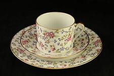 Vtg Limoges Porcelain Floral Blossoms Trio Tea Cup Saucer Dessert Plate Set