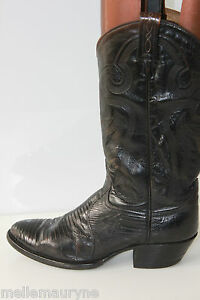 VINTAGE Boots Western TONY LAMA All Leather Black T 7.5  / 39 FR BE