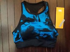 NWT Lucy Activewear High Impact Workout Sports Bra $55 XS blue black floral