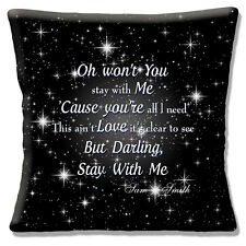 """Sam Smith 'STAY WITH ME' Song CHORUS White on Black 16"""" Pillow Cushion Cover"""