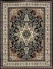 6x8 Isfahan Black Burgundy Brown Olive Oriental Modern Persian Area Rug Door 5x7