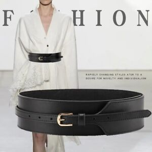 Women Fashion Elegant Wide Waist Belt Real Leather Pin Buckle Dress Waistband