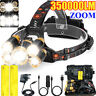 350000LM T6 LED Waterproof Head Torch Light Headlamp Flashlight Set Rechargeable
