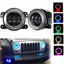 4inch Round RGB LED Fog Light DRL Angel Eye Halo Ring For 07-17 Jeep Wrangler JK