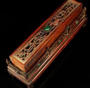 "12"" Tibet Tibetan Buddhism Old wood Handmade carving Gem inlay Aromatherapy box"