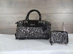 Coach 15520 Ocelot Leopard Ashley Metallic Satchel & Wallet Handbag Purse Tote