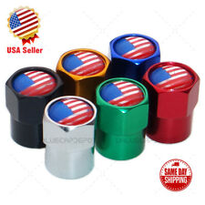 Hex America USA Flag Logo Car SUV Wheels Tire Air Valve Caps Stem Dust Cover
