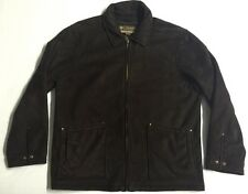 Columbia Rancher Brown Suede Full Zip Coat Jacket Shearling Lining Men's size XL