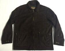 Columbia Rancher Brown Suede Full Zip Coat Jacket Shearling Lining Men's size XL
