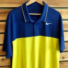 EUC Mens Blue/Yellow Nike Golf Dri Standard Fit Polyester S/S Polo Shirt 2XL