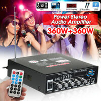 360W+360W bluetooth Stereo Power Audio Amplifier FM USB Amp SD Home KTV +